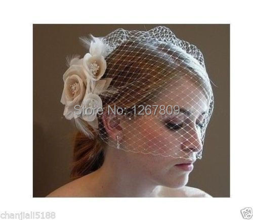Hot Sale Design Ivory Blusher Birdcage Veil With The Champagne Bridal Veil Bridal Accessories