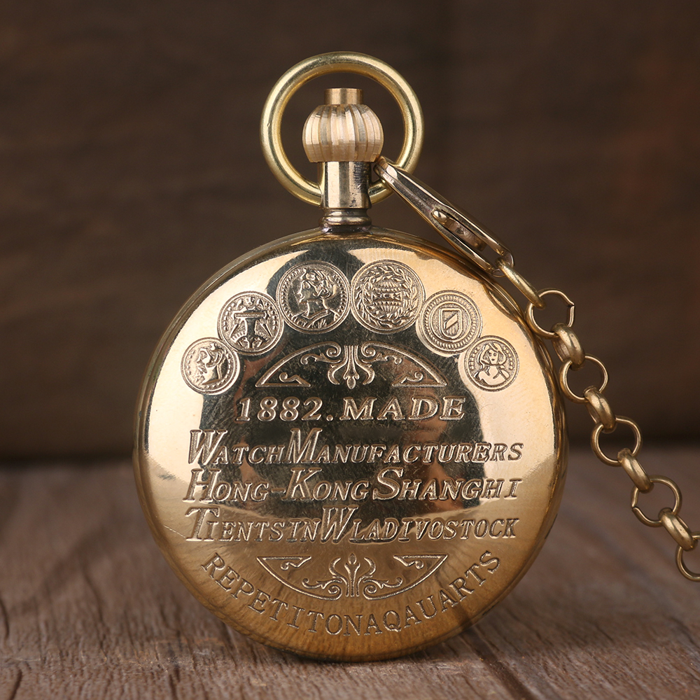 Luxury Golden Pocket Watch Skeleton Steampunk Mechanical Hand Wind Fob Clock Men Women Unisex Gift + Chain Gift vintage watch necklace steampunk skeleton mechanical fob pocket watch clock pendant hand winding men women chain gift