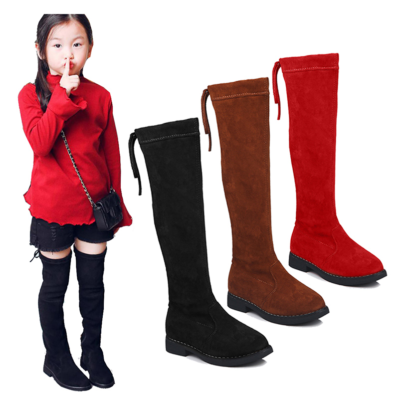 Girls Children School Plus Velvet Over Knee Red Snow Boots For Girls Kids Boots Snowboots New 2018 Autumn Winter Christmas Shoes