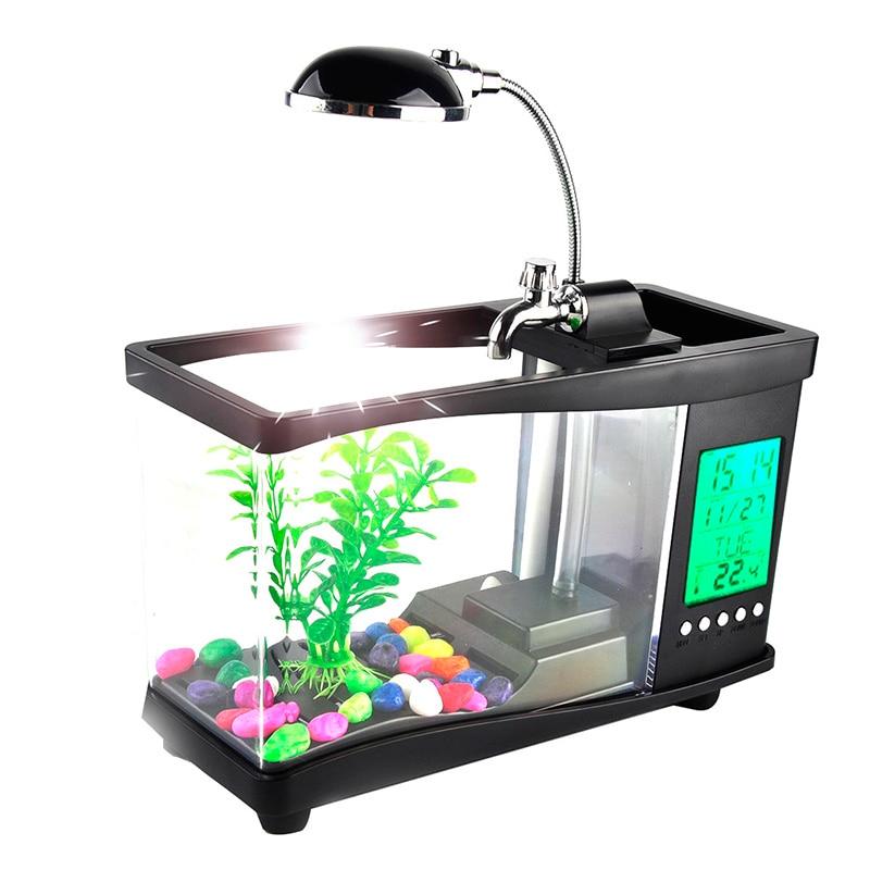 USB acrylic mini fish tank aquarium led lighting light with alarm clock for living room bedroom desk decoration accessories