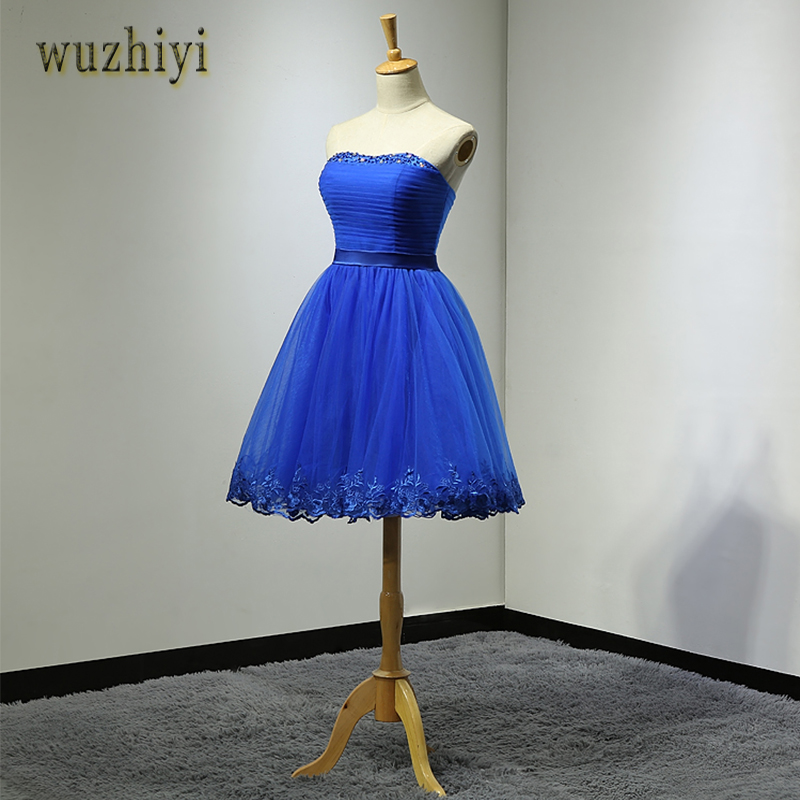 wuzhiyi 2018 New Arrival Passionate Polyester short Graduation Dresses A-line tull Sleeveless with  Blue Red Green color Dress