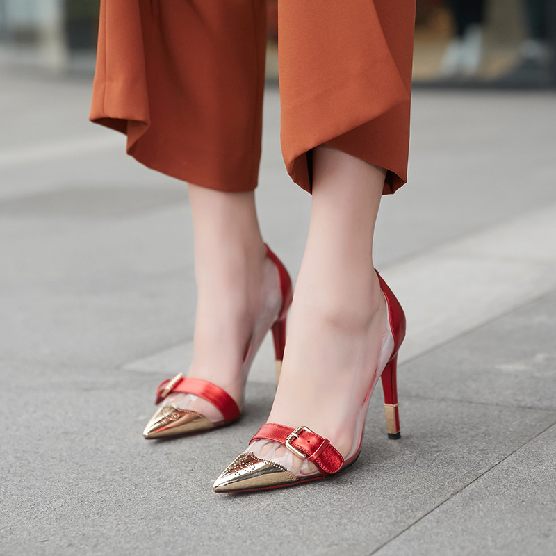 Noir Plus Taille Pompes Or Transparent Cocoafoal Rouge Talons Sexy or Boule Mariage De Femme 2018 33 Clair rouge 42 Mode Noir Chaussures La v8qR8