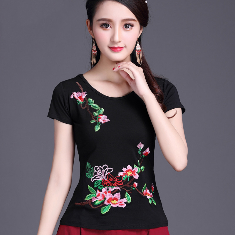 Ethnic Style Embroidery Short Sleeve T Shirt Women 100% Cotton Solid Color O Neck Summer Tops Ladies Slim White Basic Tees