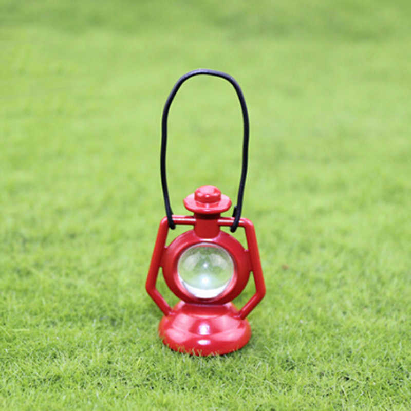 New 1: 12 Miniature Dollhouse Red Kerosene Oil Lamp For Mini Doll House Decoration Accessories Toys For Children