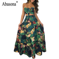 Abasona Plus Size Vestidos Tropical Print Robe Femme 2 Piece Set Sexy Long Floral Ruffles Maxi Beach Dress Summer Party Dress