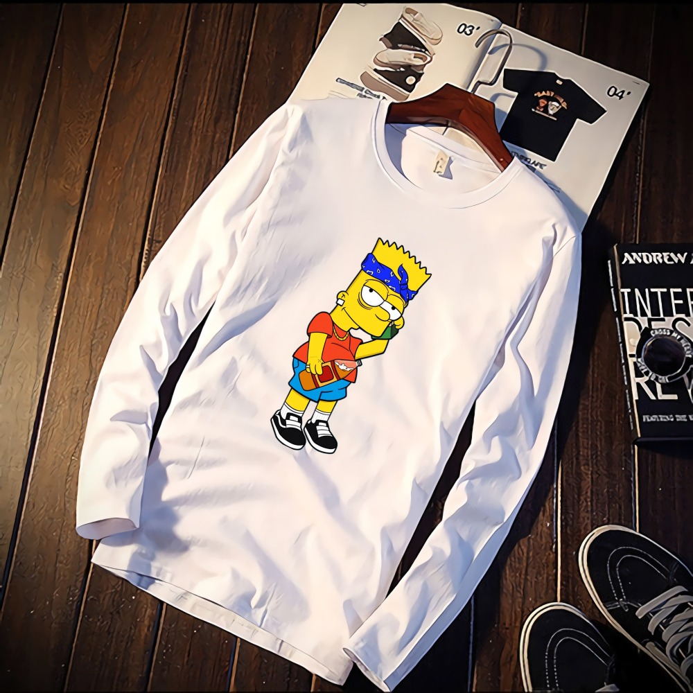 Fashion Short Sleeve   T     Shirt   Cool Simpson Movie Figures Printed 100% Cotton Top Tees Casual O Neck   T  -  Shirt   Unisex Female TShirt
