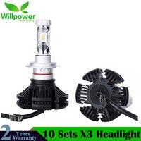 10 комплектов X3 светодиодный фар 50 Вт 6000LM H4 H7 светодиодный фар автомобиля 3000 K/6500 K/8000 К ZES чип H1 H11 9005 HB3 9006 HB4 светодиодный Автомобильная противо