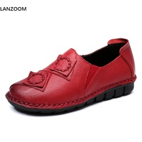LANZOOM Spring Summer Woman Genuine Leather Shoes Sewing Handmade Retro National Style Flats Women Pregnant Women