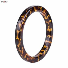 YGLCJ 1 Piece Round Ladies Resin Bracelet Fashion Girl Retro Leopard Style Jewelry For WomenS Gif