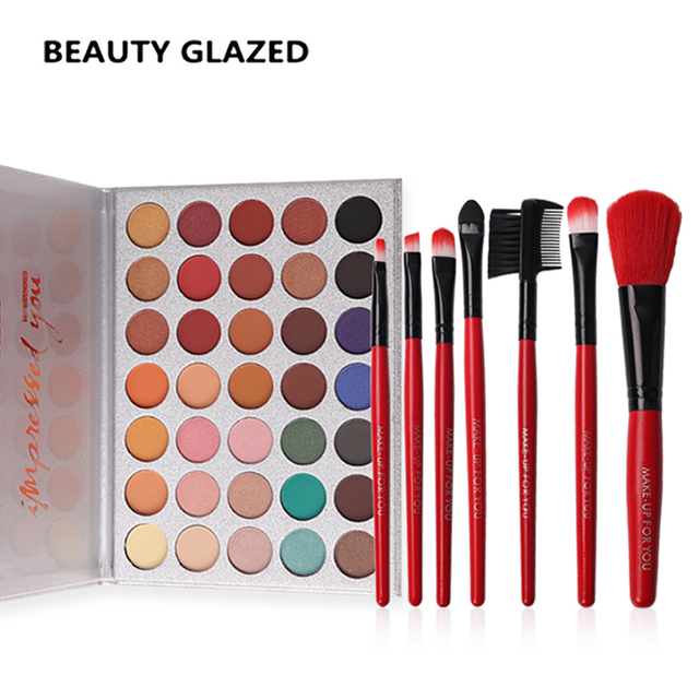 BEAUTY GLAZED 35 Colors In 1 Eyeshadow Palette  Matte Shimmer Eyeshadow + Red Color Makeup Brushes brush tools with bag Hot