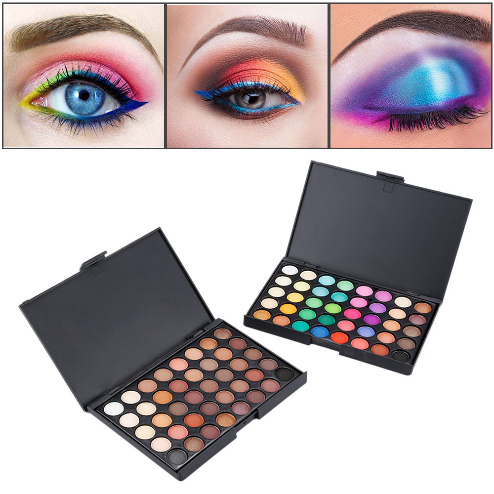 Popfeel 40 Color Eyeshadow Palette Matte Glitter EyeShadow Diamond Shimmer Eye Primer Luminous Eyeshadow Smoky/Warm Color TSLM2