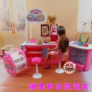 Accesorios para muebles de muñeca Barbie, nevera, helados y dulces, lámpara para dormitorio, tienda, regalo de vacaciones, niña DIY