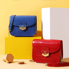 Womens new crocodile pattern leather chain simple small square bag Foreign style texture mini crossbody