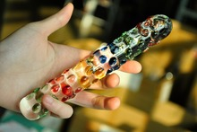 Colorful crystal artificial penis anal dildo butt plug