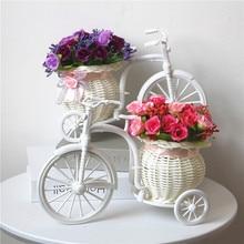 Идиллический домашний интерьер Моделирование цветок и цветок автомобиль костюм, велосипед вязаная Цветочная корзина, поддельные цветок алмаз роза