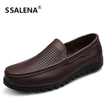 Mens Hollow Mesh Moccasins Soft Leather Casual Shoes Mens Luxury Summer Loafers Breathable Slip On Boat Shoes AA11576