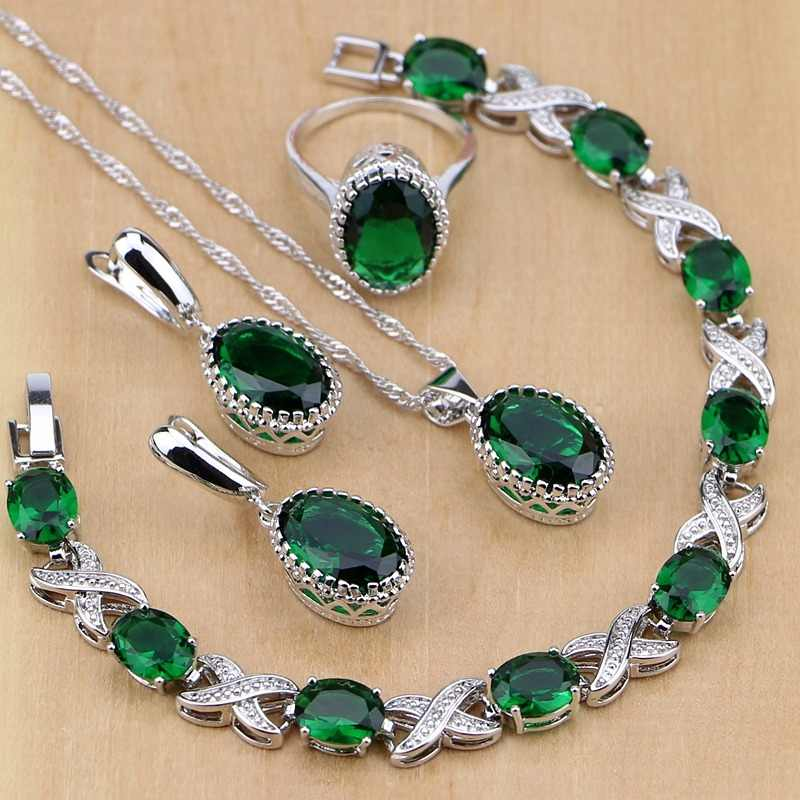 Silver 925 Jewelry Green Created Emerald White CZ Jewelry Sets Women Earrings/Pendant/Necklace/Rings/Bracelet