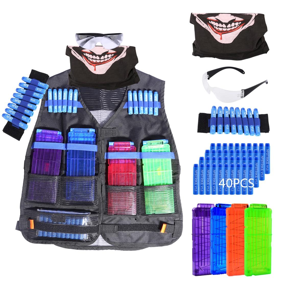 Balle molle Tactique Équipement Kits pour Nerf n-strike Elite Série avec Recharge Balles/Recharger Clips/Visage couverture/Lunettes/Bracelet