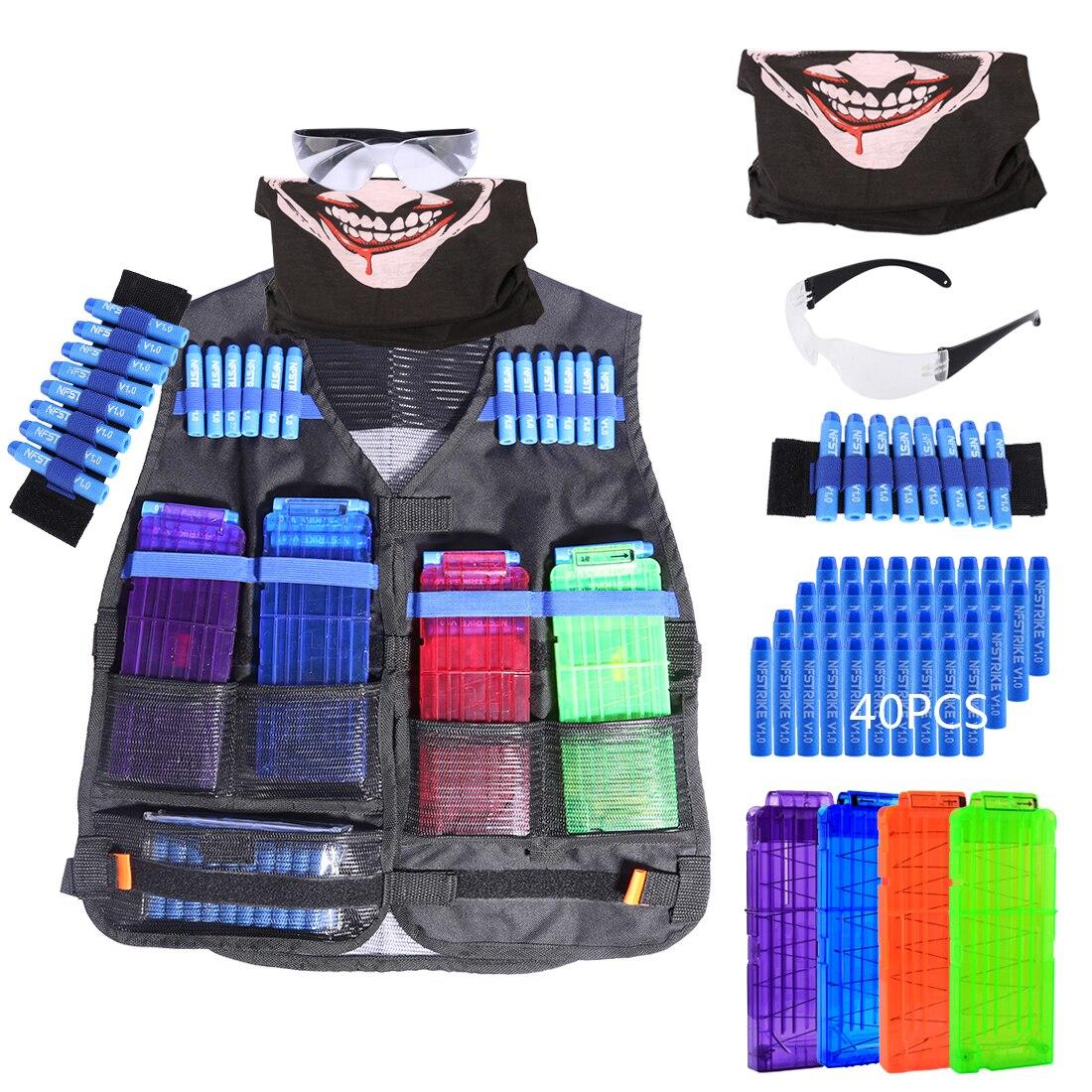 Morbido Proiettile Tattico Kit di Attrezzature per Nerf N-strike Elite Series con Ricarica Proiettili/Ricarica Pinze/Viso copertura/Occhiali/Wristband
