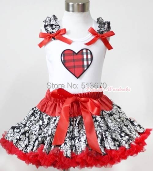 Hot Red Damask Pettiskirt Dress Valentine Plaid Heart Ruffle Red Bow Top 1-8Year MAPSA0225 red black 8 layered pettiskirt red sparkle number ruffle red bow tank top mamg575
