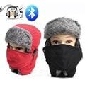 Unisex Invierno Espesar Caliente Beanie Sombrero Auricular Bluetooth Inalámbrico Inteligente Tapa Blanda