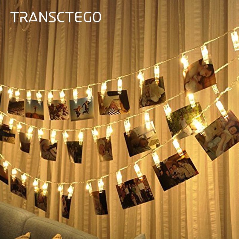 LED Photo Clip String Lights Holder Indoor Fairy String Light For Hanging Picture Cards Memos Photo Clip Holder Decoration Lamp