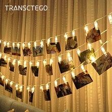 LED fotoğraf klip dize ışıkları tutucu kapalı peri dize işık asılı resim kartları notlar fotoğraf klip tutucu dekorasyon lambası