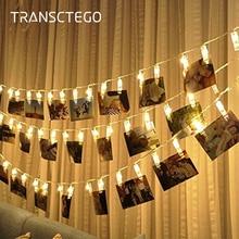 Led 사진 클립 문자열 조명 홀더 실내 요정 문자열 빛 교수형 그림 카드 메모 사진 클립 홀더 장식 램프