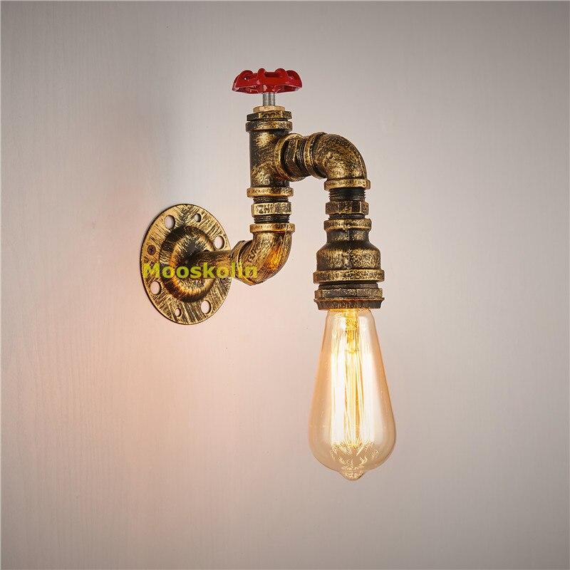 ФОТО Loft Retro Metal Water Pipe Vintage Wall lamps with Edison Bulb E27 Lights for Cafe Hallway Bedroom Living room Bar Wall lights