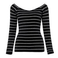 Sisjuly Women 60s Sweaters Autumn Striped Slash Neck Pullover Long Sleeve Slim Sweater Fashion Casual Female