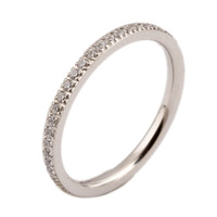 Full Small CZ Zircon Channel Setting Stainless Steel Engagement Rings For Women