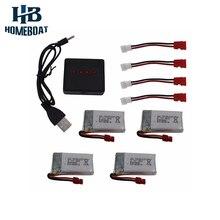 4 Шт. 500 мАч LiPo 4 в 1 USB Зарядное Устройство Набор для Syma X5HC X5HW Drone Мультикоптер Радиоуправляемые Модели Запасные Части Замена Набор