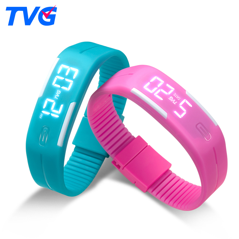 TVG Brand Soft Silicone Bracelet Strap Cartoon Watches Boys Girls LED Display Children Digital Watches for
