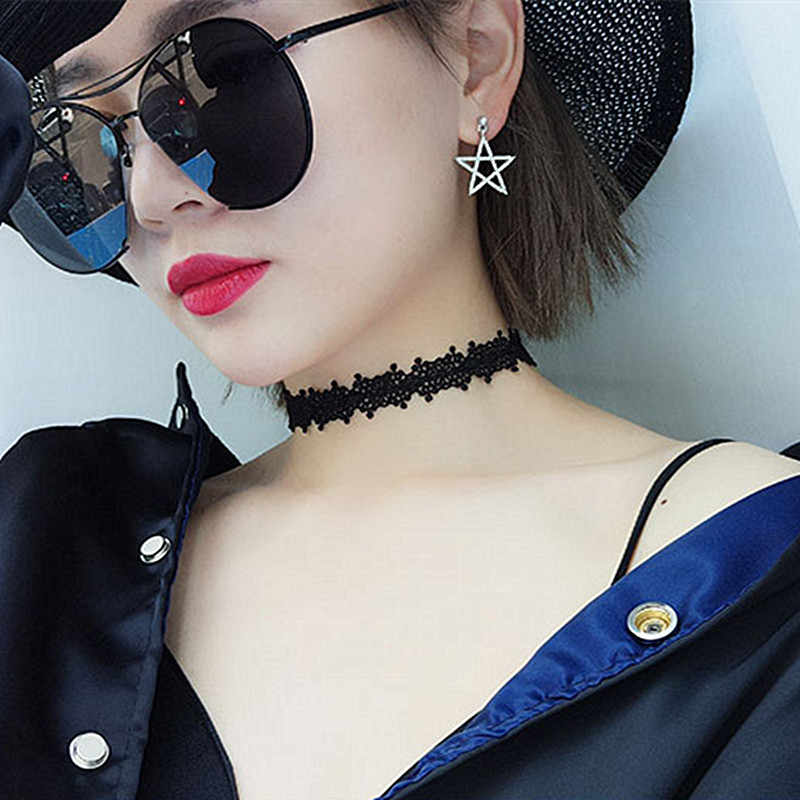 N239 Sexy Lace Crochet Chokers Necklaces For Women 90s Black Flower Necklace Collares Fashion Jewelry Bijoux Colar Gothic 2018