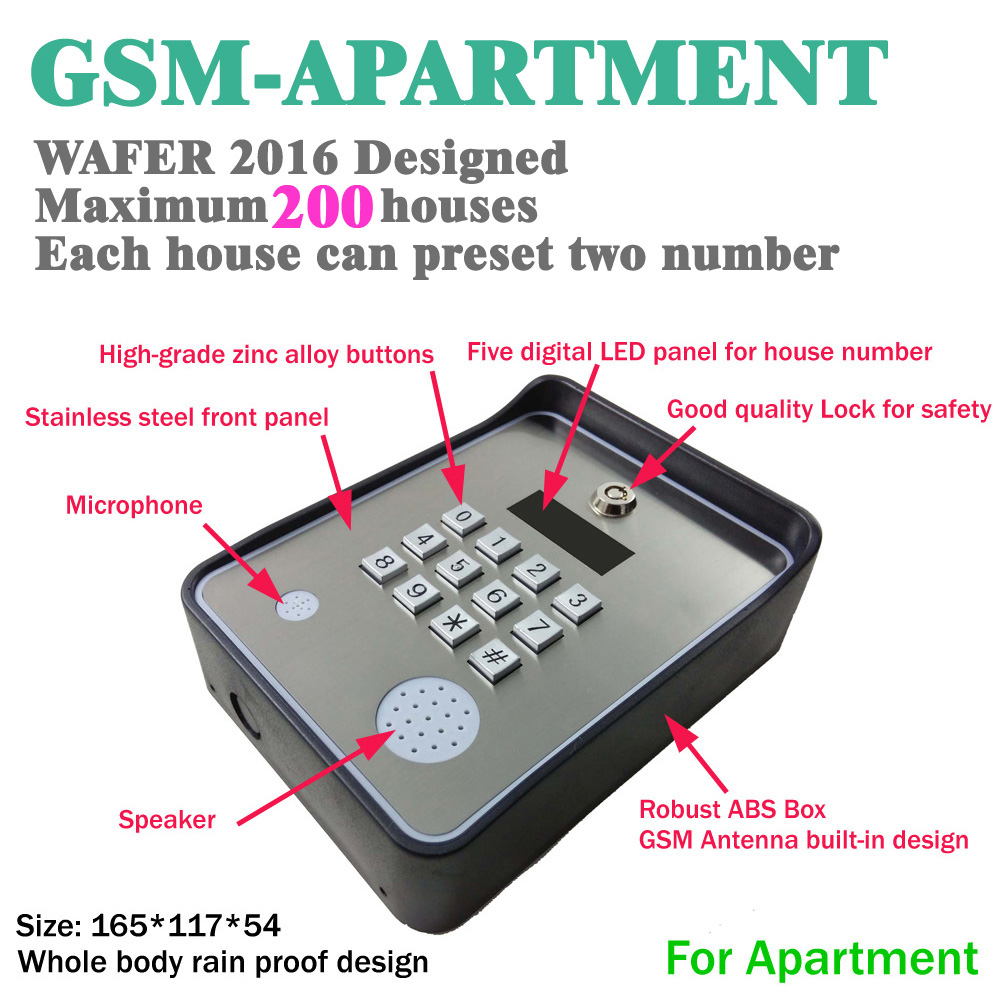 GSM intercom for emergency help gate opener access controller and service help calling dc12v power input