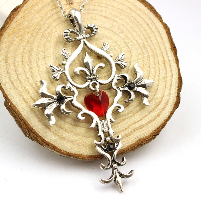 The vampire diaries unique red crystal sacred heart cross necklace the vampire diaries unique red crystal sacred heart cross necklace vintage pendant necklace aloadofball Images