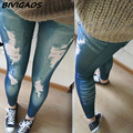 Hot-selling 2016 Fashion Stretch cotton Faux denim Thick Hole Leggings Fitting Ankle Length Trousers Jean Legging Jeggings Women