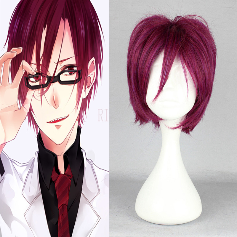 Free Rin Matsuoka Hair Styles Short Layered Hair Red Burgundy Fake Hair Wigs Men Pelucas