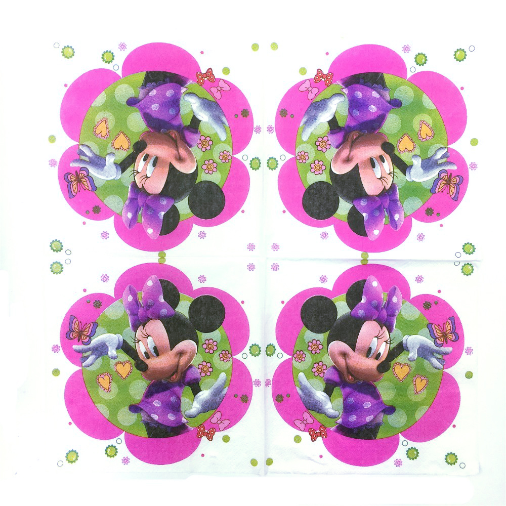 20pcs 33*33cm Cartoon Minnie Mouse theme Paper Napkin Paper Tissue for kids birthday party decoration