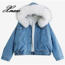 women faux fur jean jacket Winter Thick Jean Jacket Faux Fur Collar Fleece Hooded Denim Coat Female Padded Warm Denim Outwea initialdream new thick velvet denim jacket outerwear 2019 winter warm women zipper jean jacket coat casual clothing