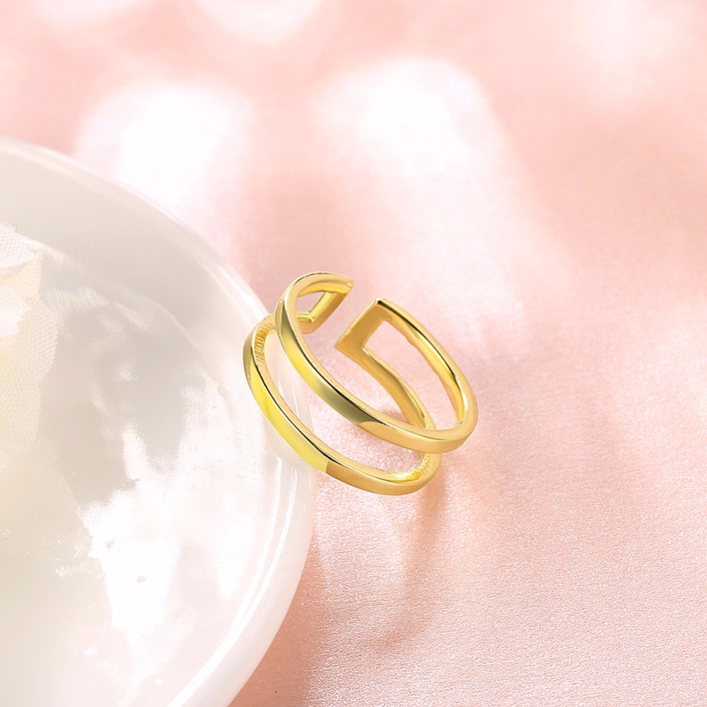 Classic classical style smooth surface gold opening ring wedding ...