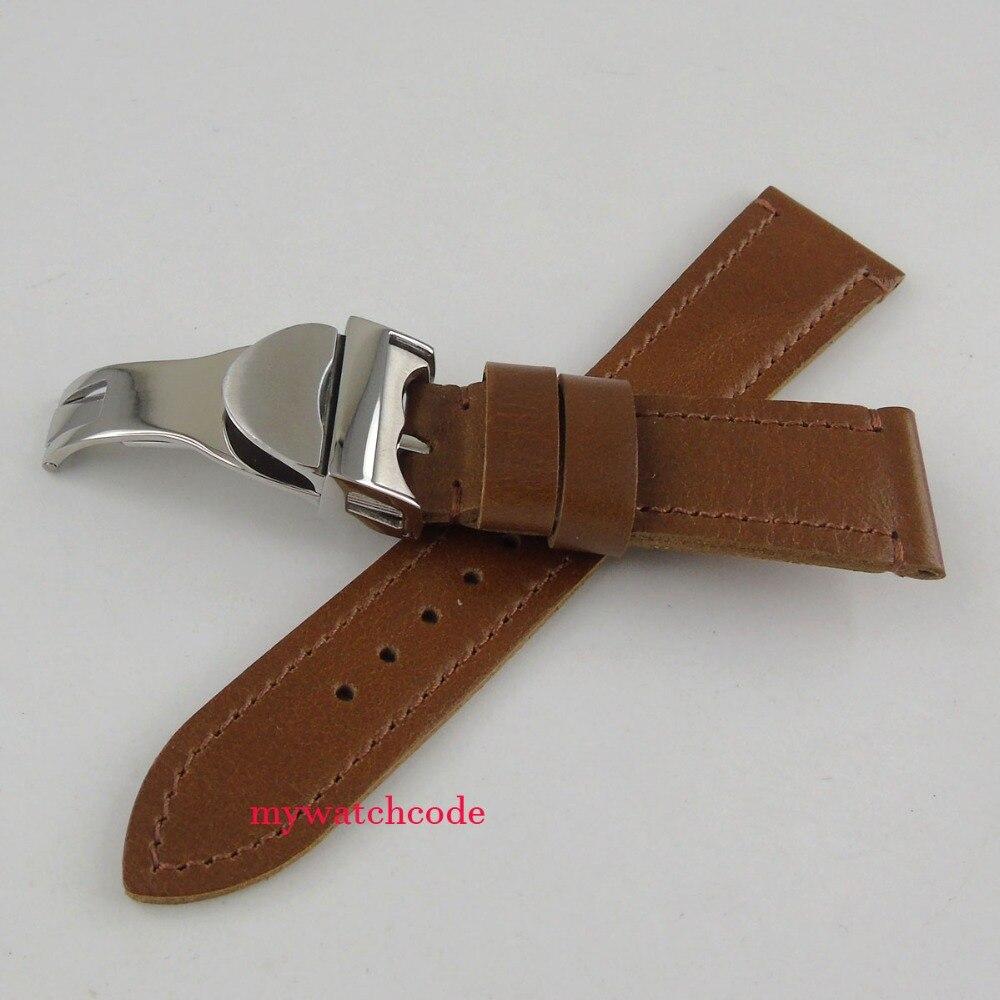 Boucle de déploiement en acier inoxydable 316L avec bracelet en cuir noir 22mm (sangle + boucle)