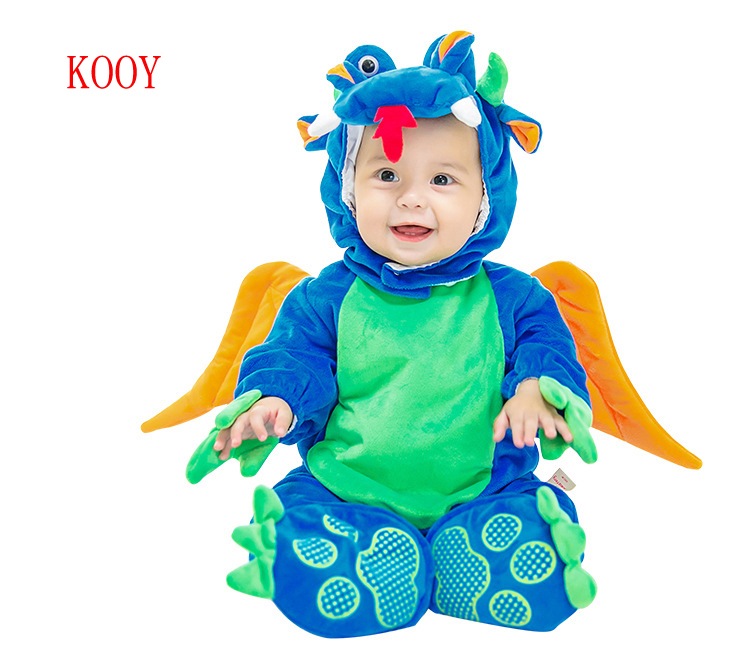 Christmas Gift Winter Baby Dinosaur Costume Breathable Hooded Rompers
