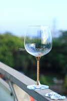 Handmade Hot Sale Clear 626ml Red Wine Glass With Gold Color Stem