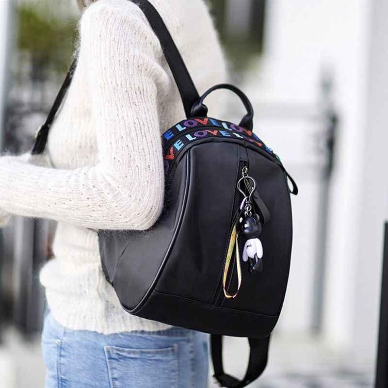 32d9b0bd1bf 2019 повседневный рюкзак женский черный Оксфорд школьные сумки для  подростков девочек водостойкий нейлон Высокое качество путешествия