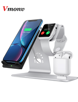 Vmonv New 3 in 1 wireless charging phone holder stand for IPone 8 X watch airpods aluminum alloy 10W wireless charging bracket
