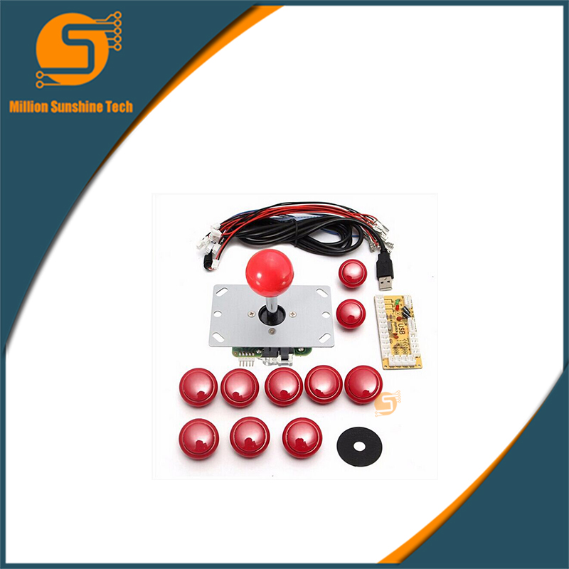 DIY Handle Arcade Set Kits Replacement Part USB Cable Encoder Board PC Joystick Push Buttons 4 Colors