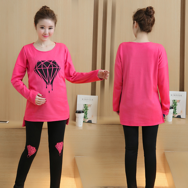 Plus Velvet Long Sleeve Maternity Tops Nursing Top Solid Maternity Clothes Sets Breastfeeding Clothes for Pregnant Women B385
