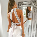 Backless Lace Up Crop Top High Neck With Buttons Sexy Hollow Out Lace Crop Tops Beach Holiday Summer Women Tops 2016 Back White