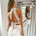 Backless Lace Up Top Safra Alta Pescoço Com Botões Sexy Oco fora Topos Das Culturas de Renda Praia Férias de Verão Mulheres Tops 2016 de Volta branco
